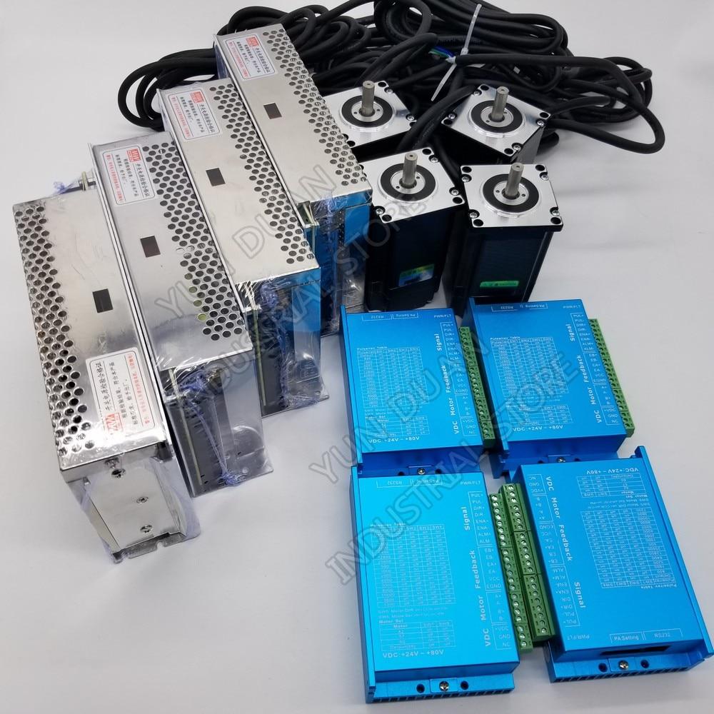 4PCS Nema23 57mm 2.2Nm 1000Line Encoder DSP Closed Loop Stepper Motor  2PH  DC Drive Power Supply 4 Kits Hybird Easy Servo Lathe