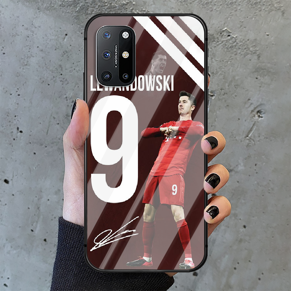 Football Lewandowski Soccer 9 Phone Tempered Glass Case Cover For Oneplus 5 6 7 8 9 Nord T Pro Prime Cell Back Silicone  - buy with discount