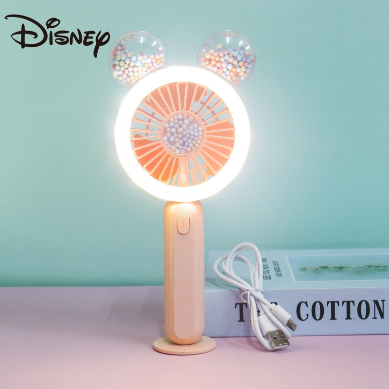 Disney cute portable mini fan handheld USB rechargeable with light adjustable summer cooler for outdoor travel office