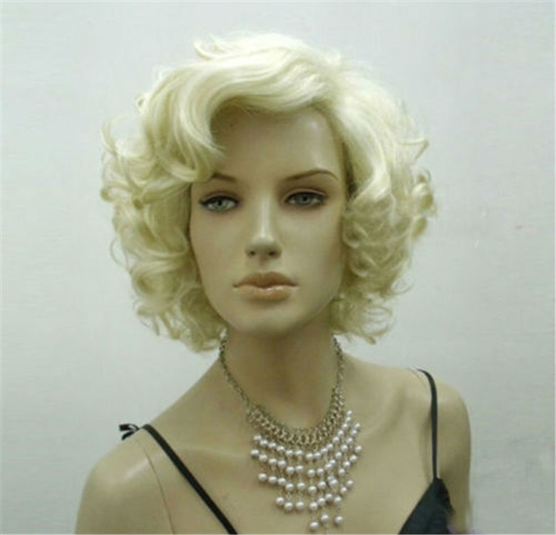 Marilyn Monroe Wigs Short Fashion Blond Curly Heat Resistant Synthetic Hair Cosplay Wig + Wig Cap