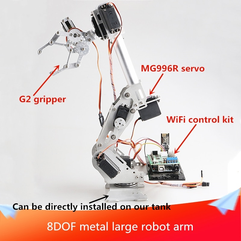 With Control 8DOF Metal Large RC Robot Arm With Gripper Controller Kit 8pcs Digital Servos DIY For A