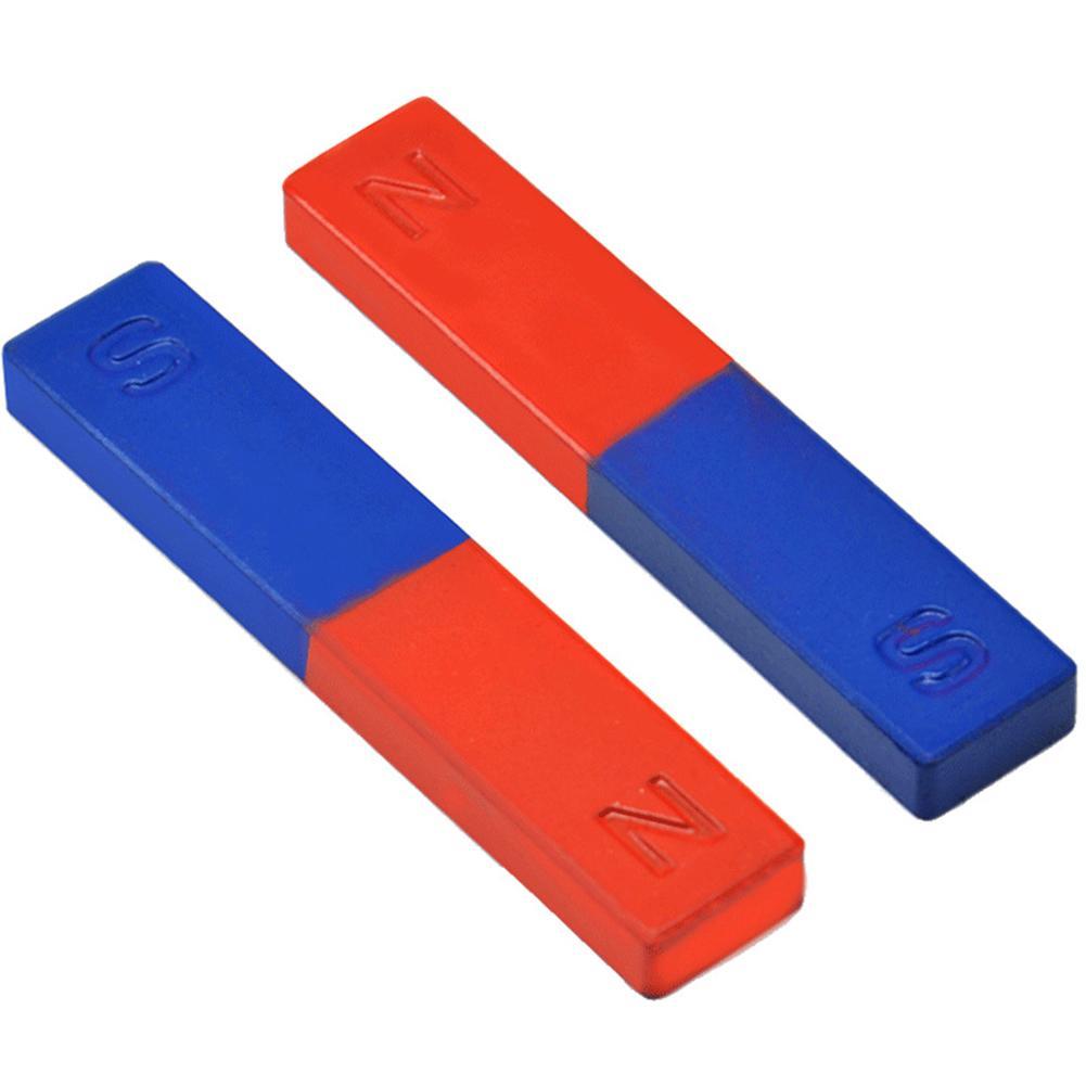 2 pièces/ensemble barre aimant physique expérience outil pôle outil denseignement rouge bleu peint N/S barre aimant
