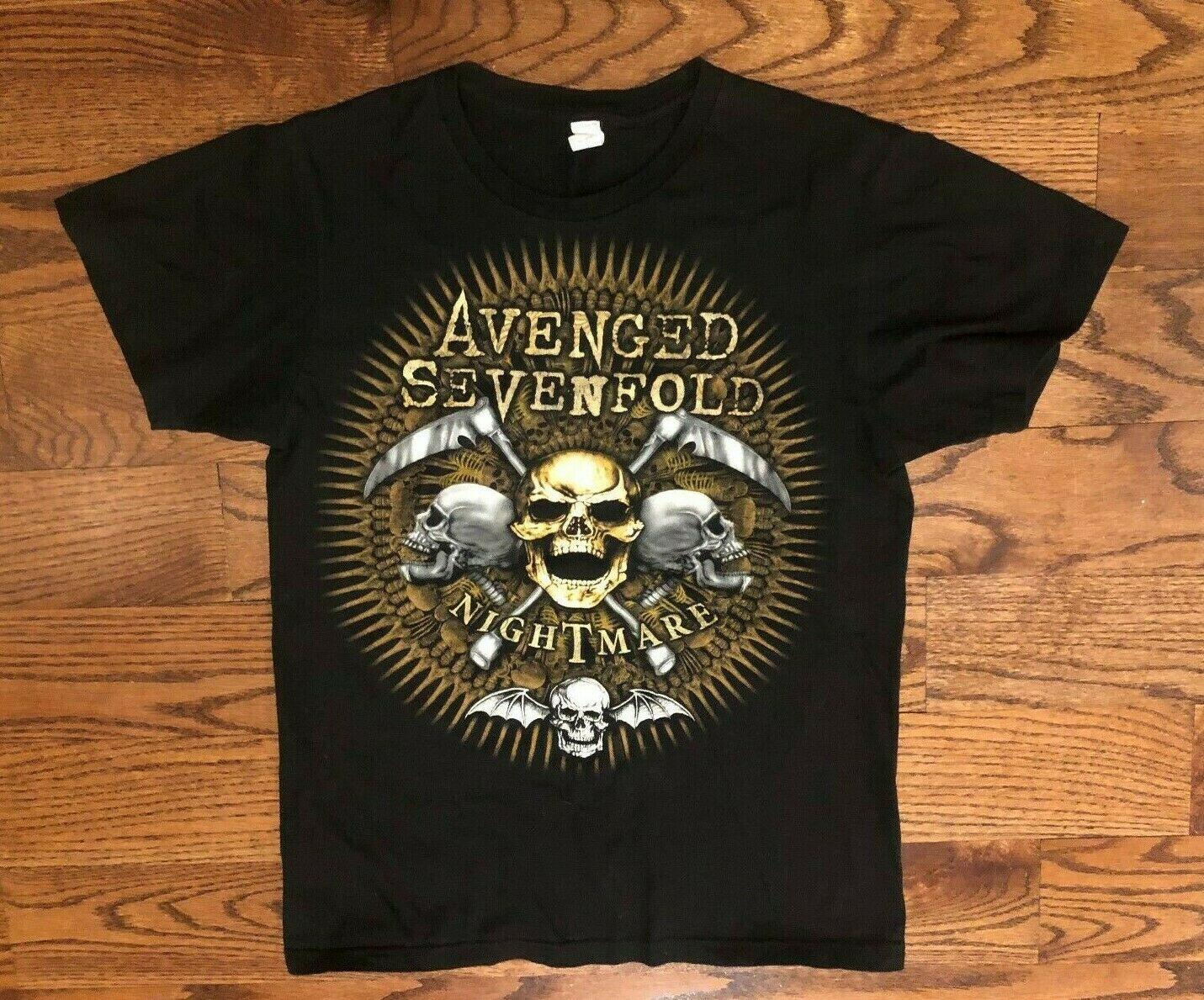 Vingado sevenfold a7x pesadelo oficial camisa preta t masculino pequeno