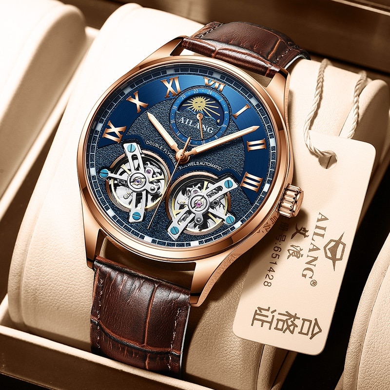 AILANG Original design watch men's double flywheel automatic mechanical watch fashion casual business men's clock Original enlarge