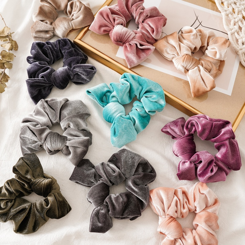 High Quality Velvet Scrunchie Knotted Women Elastic Hair Bands Ponytail Holder Ties Girl chouchou Rope Hair Accessories