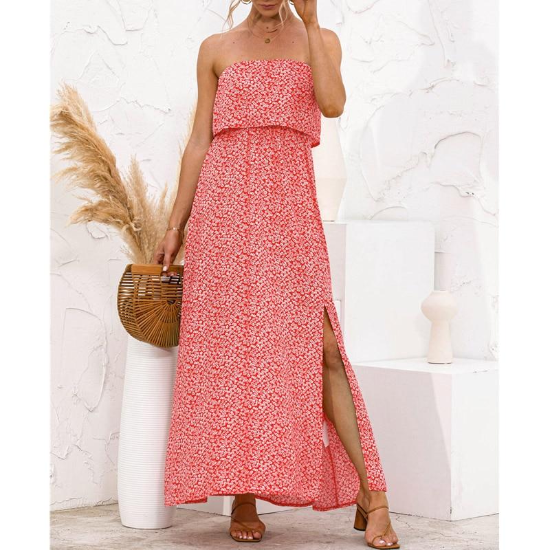 Women Strapless Sexy Side Split Long Dress Summer Leaves Floral Print Boho Beach Holiday Maxi Dresses 2021 Green