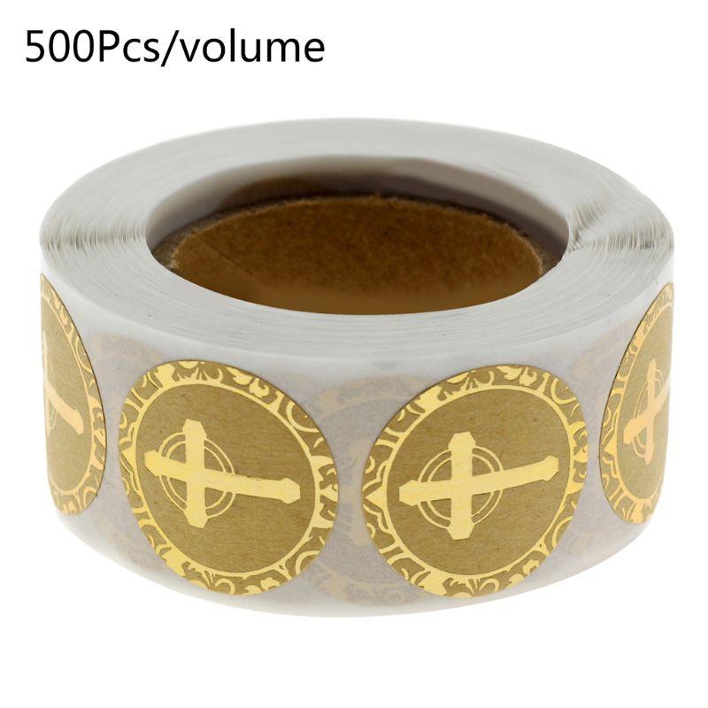 Pegatinas de cruces religiosas cristianas de 500 Uds con papel Kraft dorado etiquetas para sellos de sobres papelería decoración de boda