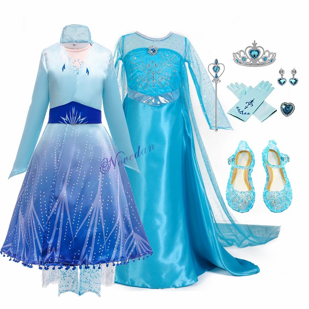 Niñas Elsa 2 Vestido nuevo reina De la nieve disfraces para niños Cosplay Vestido princesa Disfraz Carnaval Vestido De fiesta Infantil congestionados