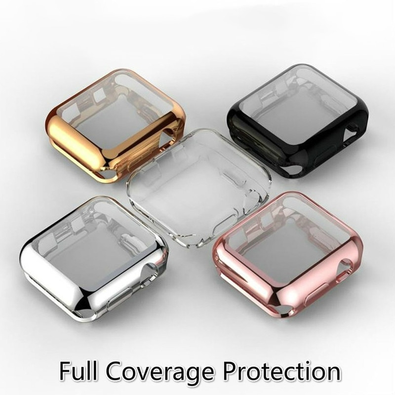 Casos de relógio inteligente para apple assistir série 5 3 4 2 1 caso tpu macio protetor capa escudo da pele para iwatch eu relógio 38 42 40 44 mm