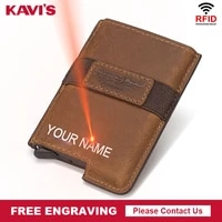 kavis new business id credit card holder men and women metal rfid vintage aluminium box real leather card wallet name engraving
