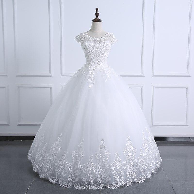 2021 бальное свадебное платье Кружевное боди с жемчугом свадебное платье с коротким рукавом размера плюс реальное изображение свадебное пла...