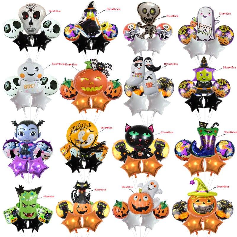 5 pçs/lote Foil Balões Dos Desenhos Animados do Dia Das Bruxas com 18 polegadas Rodada Estrela Balão Globos Menino das Crianças do Dia Das Bruxas Decoração de Halloween