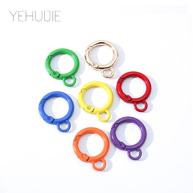 Mix 7 pçs arco-íris anel rachado chaveiro cor redonda metal chaveiro anel split anéis unissex chaveiro acessórios diy presente gay