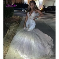 glitter silver sexy v neck mermaid prom dresses 2020 spaghetti straps african long formal evening gowns graduation party dresses