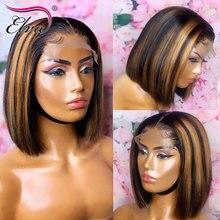 Elva cabelo 13x6 perucas de cabelo humano bob para preto mulher pré arrancado com o cabelo do bebê ombre em linha reta peruca dianteira do laço curto remy cabelo