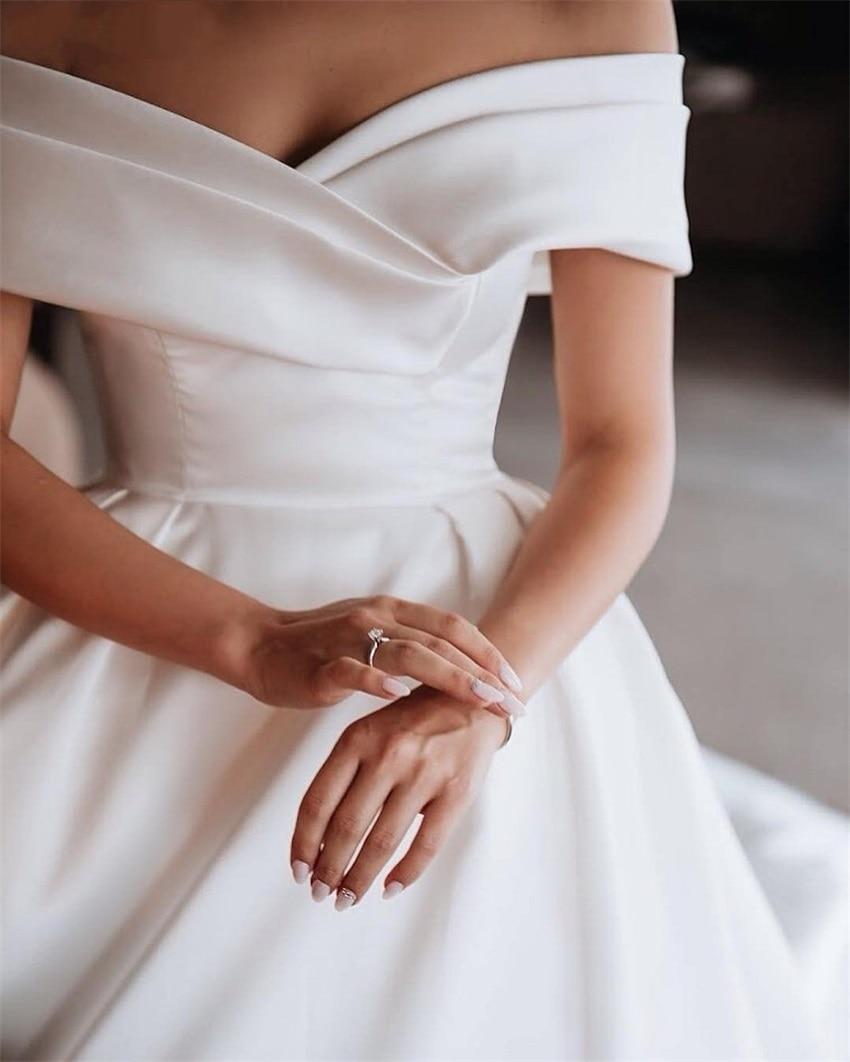 NUOXIFANG-vestido de satén blanco de lujo, vestido de boda 2020, hombros descubiertos,...