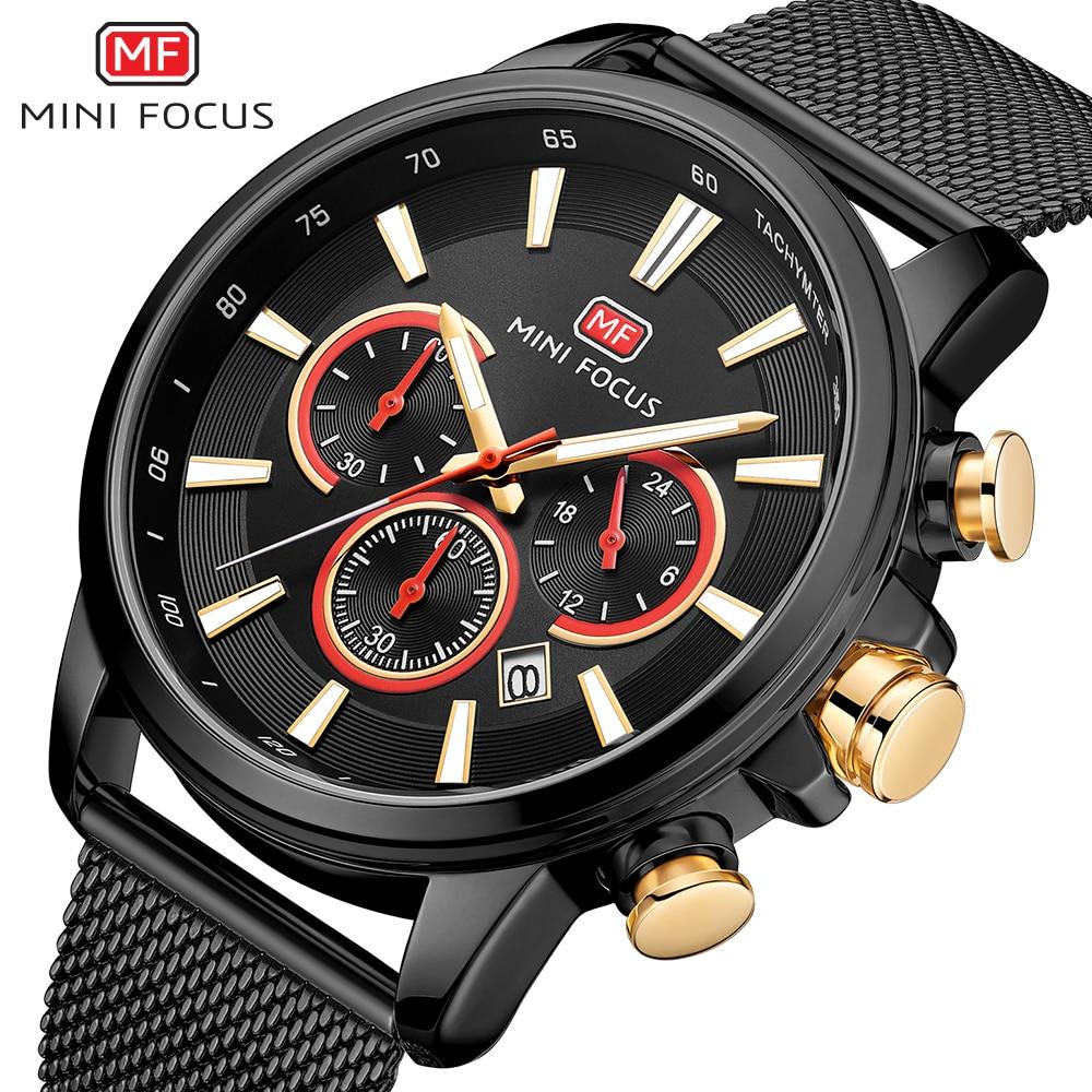 MINIFOCUS Fashion Men Sport Watches Quartz Analog Wrist Watch Steel Clock Army Military wristwatch Relogio Masculino