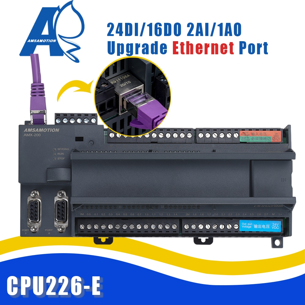 ترانزستور مرحل جديد Amsamotion Ethernet PLC CPU226 6ES7 24DI/16DO 216-3AD23/3BD23-0XB8 2AI 1AO يدعم بروتوكول Win CC S7