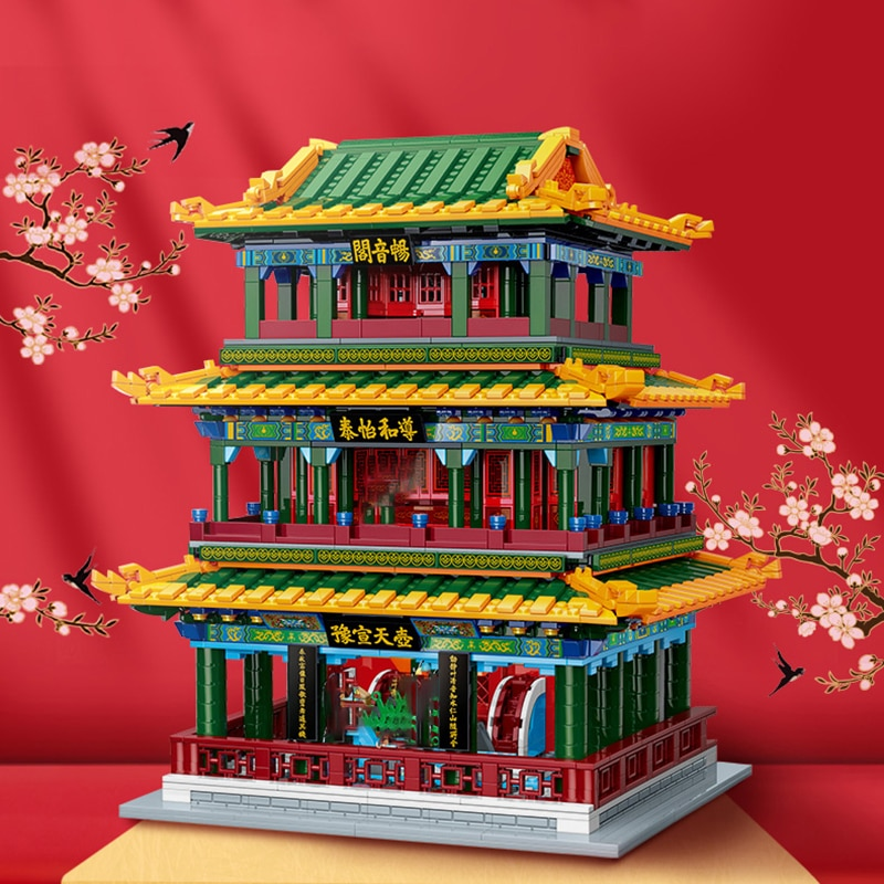 New MOC City Street View Theater Model Building Blocks Ancient Chinese Architecture Series Assembly Bricks Toys for Kids Gifts hello kitty mini block amusement park brick building blocks toys kid assembly diy children street city view educational 3d model