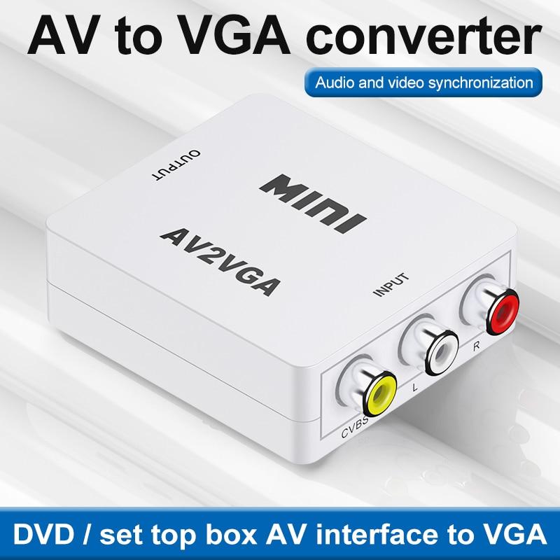 Conversor de vídeo kebidu av2vga... conversor de vídeo hd com audio 3,5mm...