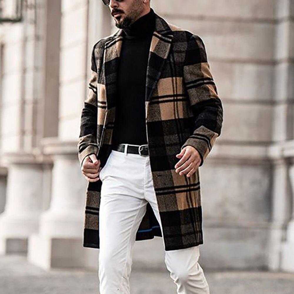 2021 Autumn Winter Western Style Fashion Temperament Woolen Coat Men Lattice Printing Casual Lapel L