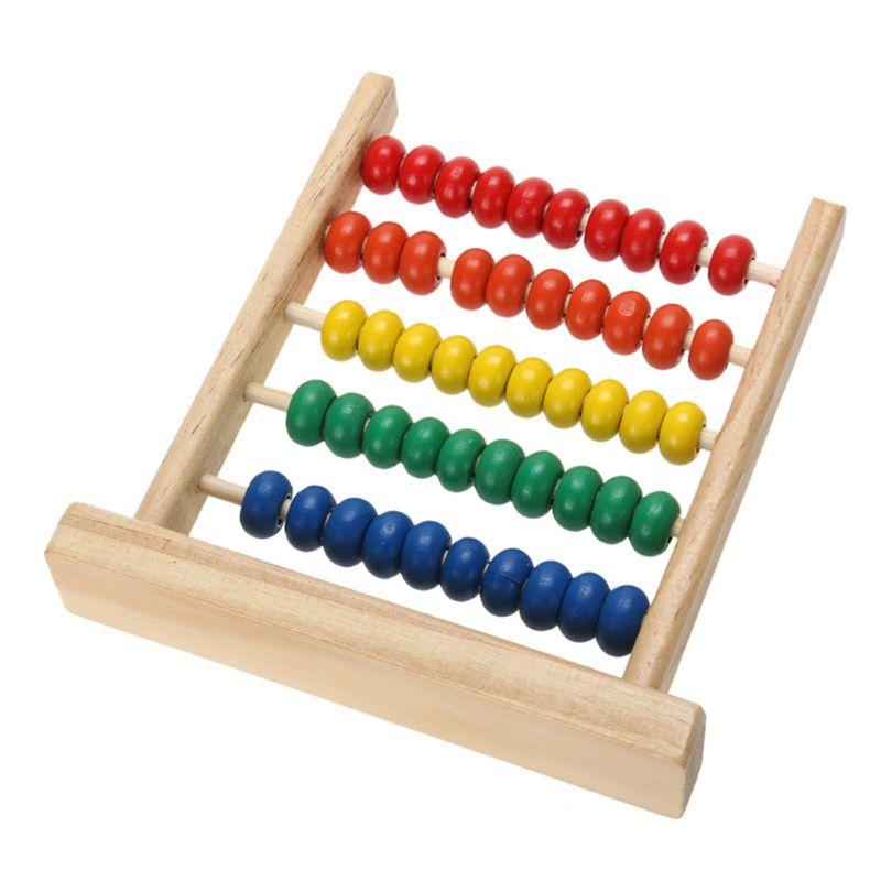 Mini Ábaco de madera juguete para aprender matemáticas números conteo cuentas de cálculo juguete educativo Montessori