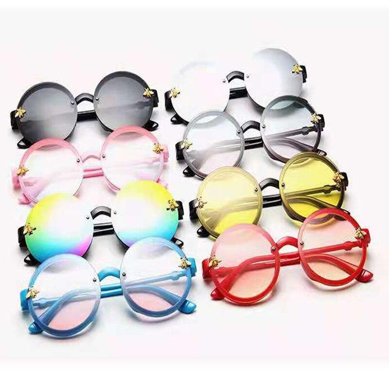 New children bee glassesglasses men girls round frame colorful sunglasses trend sunglasses