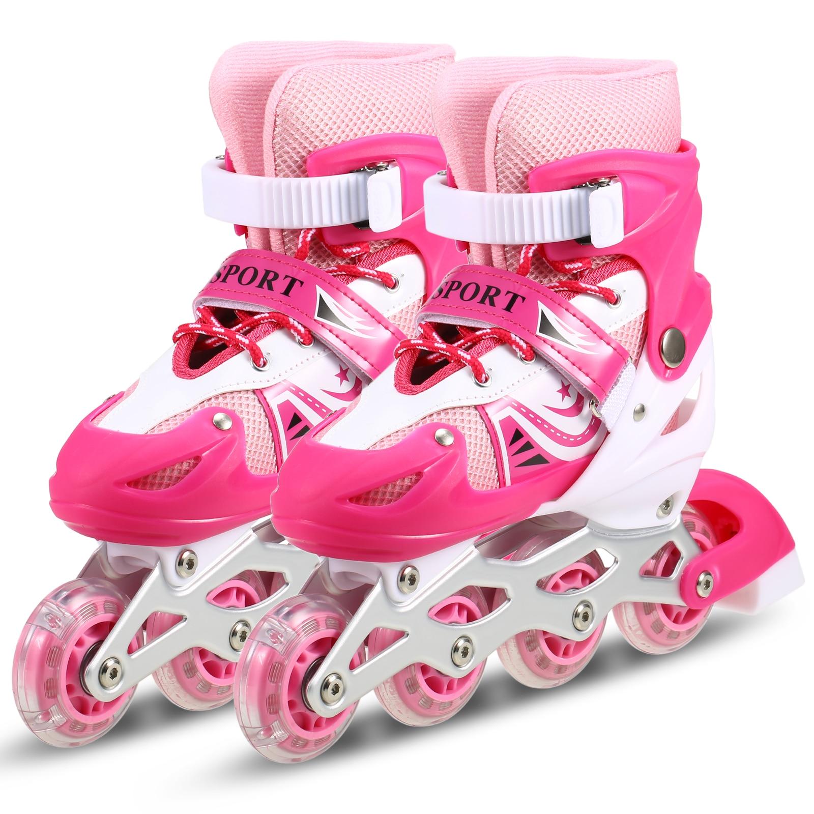 Children Outdoor Roller Skates Adjustable Inline Skating Shoes Outdoor Roller Skates For Boys Girls Kids Sports