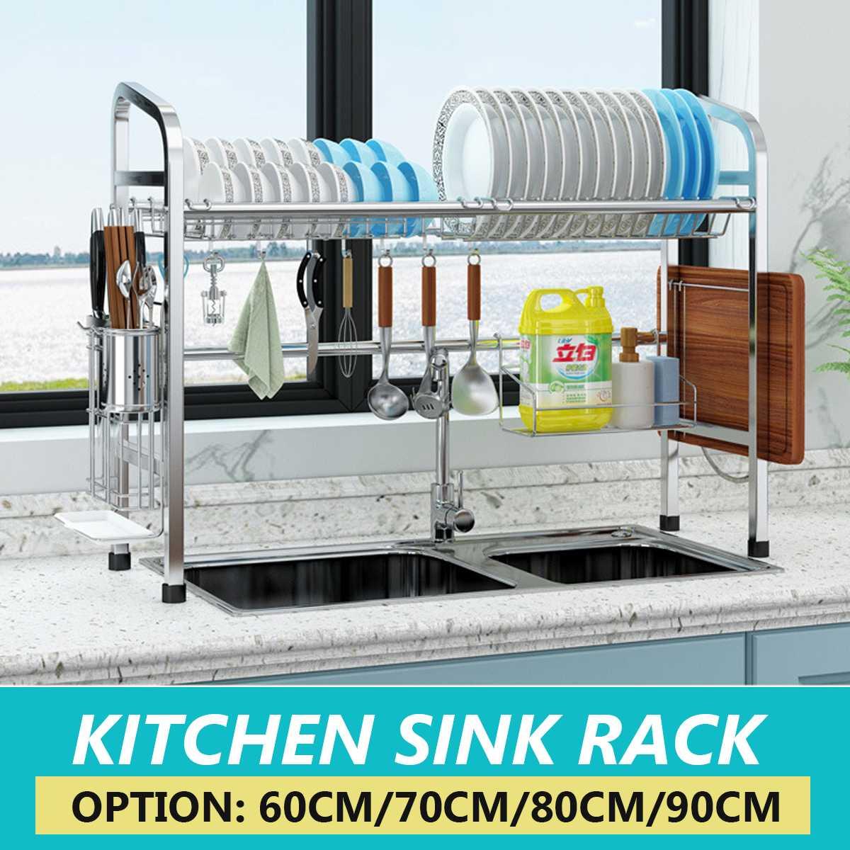 Utensilio-estante-secador-Soporte-Corte-sobre-estante-tablero grande-fregadero-plato-Inoxidable-instalación-Soporte-acero-Almacenamiento-cocina-escurridor