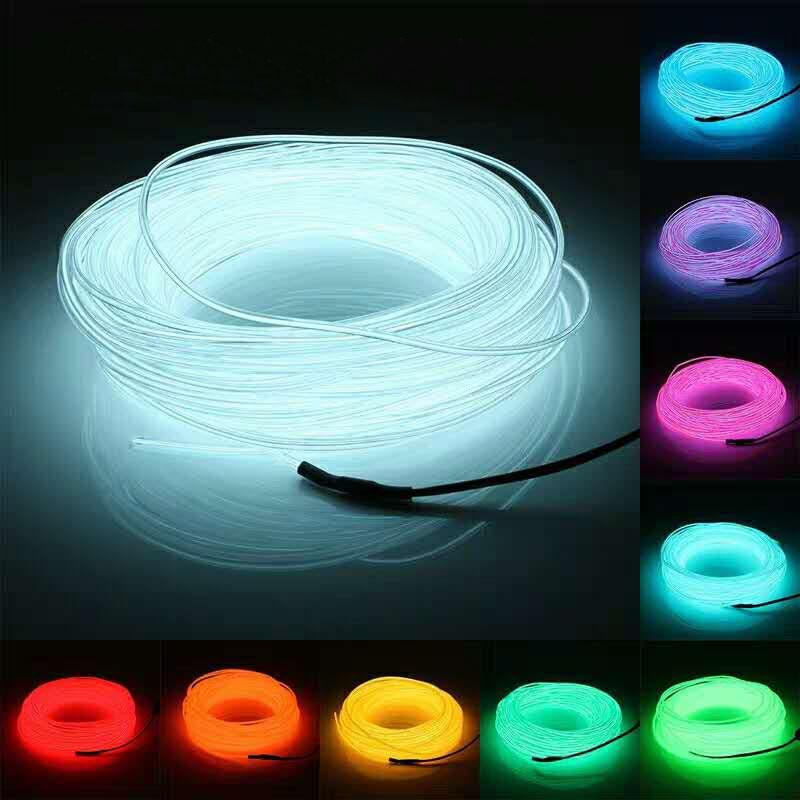1M/2M/3M/5M/10M Flexible Neon Light Glow EL Wire Rope Tube LED Strip Waterproof Neon Lights For Danc