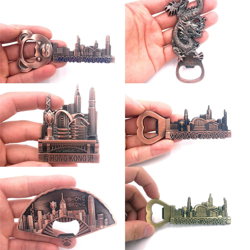 Imán de Metal 3D para nevera, adhesivo magnético para nevera de Hong Kong, destapador de botellas de recuerdo de viaje, regalo de decoración para el hogar o la cocina