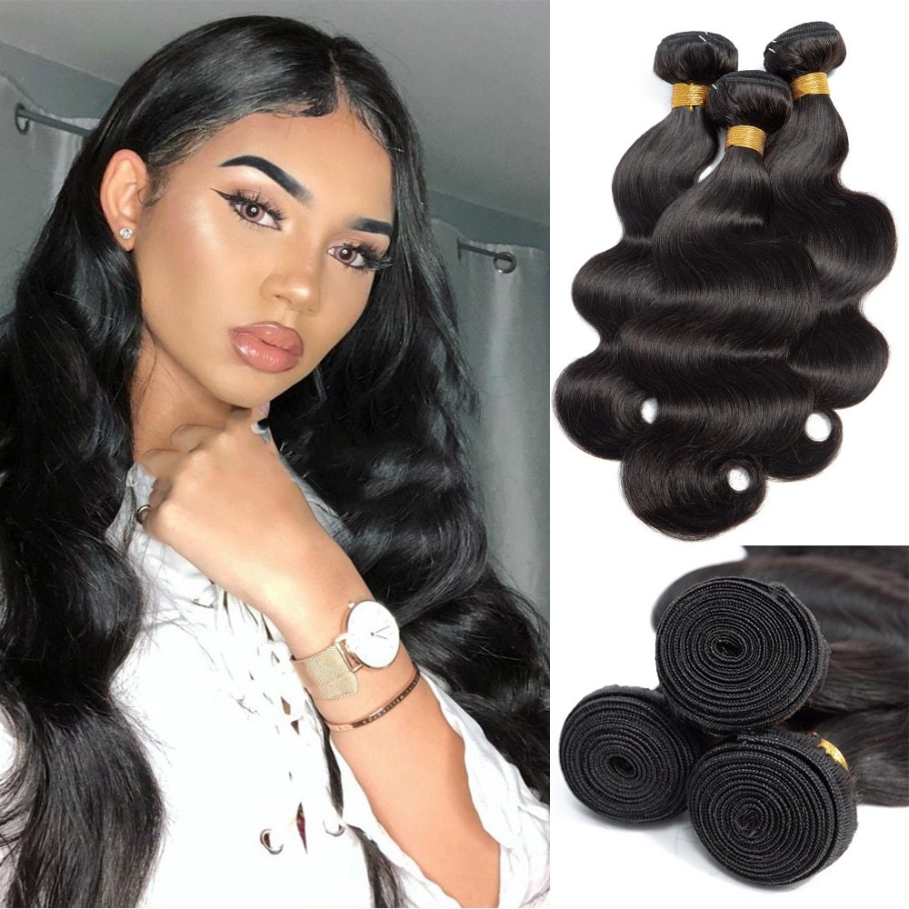 Brazilian Body Wave Weave Bundles 100% Remy Human Hair Extensions Natural Color Hair Weft 3 Or 4 Bun
