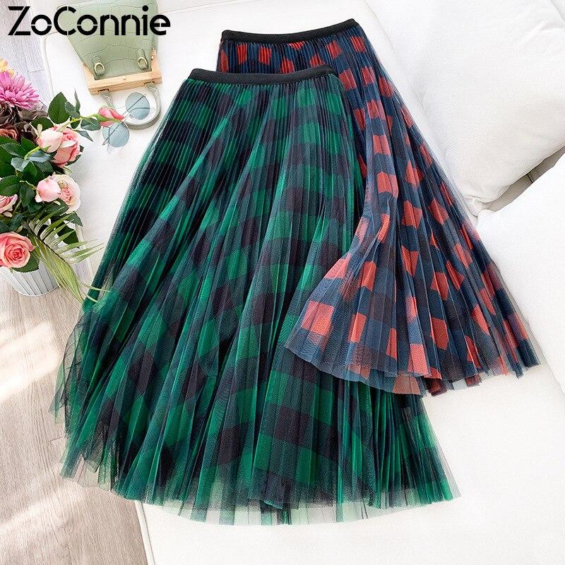Женская длинная фатиновая юбка ZoConnie, красная и зеленая клетчатая юбка трапециевидной формы, плиссированная юбка макси с высокой талией, весна 2020