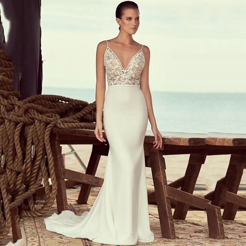 Eightree Boho Wedding Dresses Mermaid V Neck Bridal Dress Sleeveless Vestido De Noiva Lace Appliques Backless Gowns