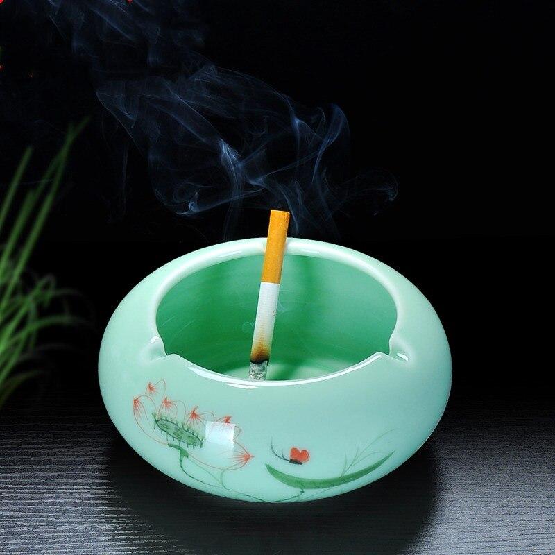 Cenicero de pescado portátil de cerámica Cenicero hogar bandeja de ceniza titular de cigarrillo Retro redondo herramientas de fumar accesorio