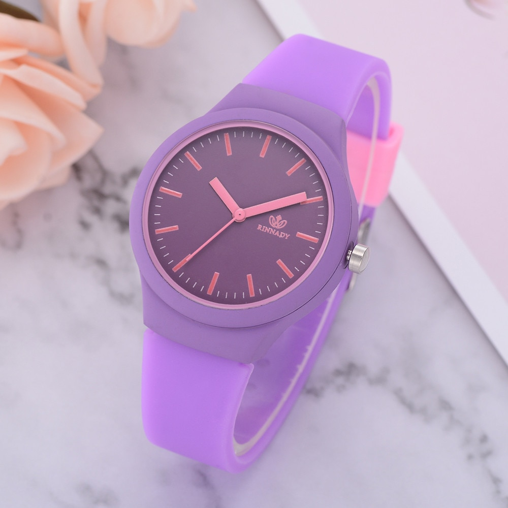 Ladies Popular Watches Women Solid Pattern Wristwatch Silicon Analog Quartz Wrist Watch For Woman Gift Relojes Mujer