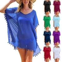 summer women swimming blouses swimwear hot fashion female mini loose solid tops chiffon tassels beach wear blouse