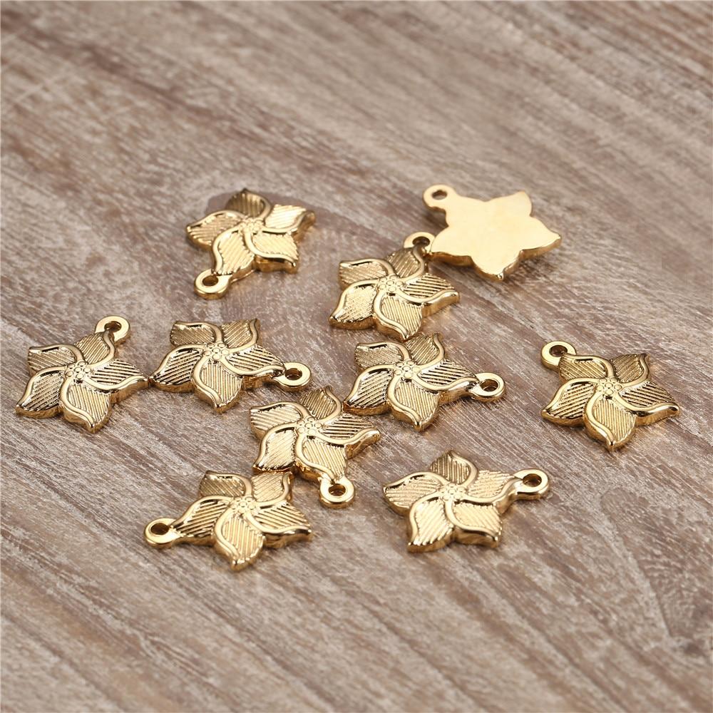 5 pçs/lote Cor Prata Ouro Aço Inoxidável Encantos Flor Pingentes Encantos Para Colar Pulseira DIY Artesanato Jóias Fazer