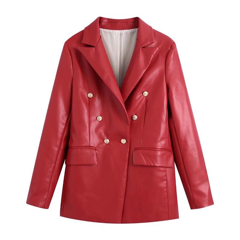 سترة من TRAF للنساء موضة 2021 مصنوعة من الجلد الصناعي بجيوب مزدوجة الصدر وأكمام طويلة ملابس خارجية