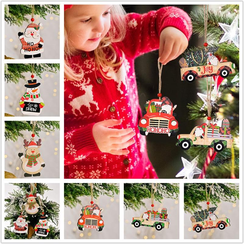 Дед Мороз, автомобильные деревянные подвесные украшения, рождественские украшения для дома, Рождественский подарок на рождественскую елку...