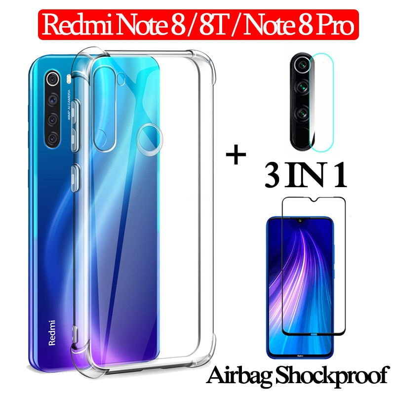 3-en-1 Airbag capa caso + vidrio Xiaomi redmi Nota 8 Pro 8 T cubierta completa 360 ° redmi-note-8t caso Nota 8t nfc cubierta