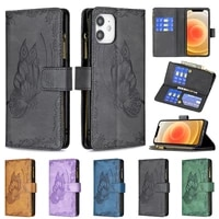 phone holster case for iphone 13 12 11 pro max xs xr se 2020 7 8 plus leather wallet bag zipper multi card slot flip stand cover