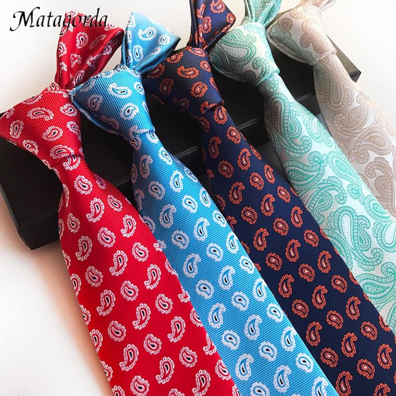 Fashionable Paisley Jacquard Tie Men Necktie 100% Silk Neckwear 8CM Formal Cravat Male Groom Groomsmen Free Shipping