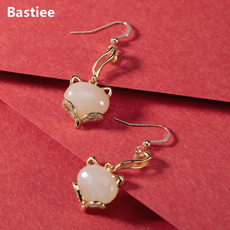 Bastiee Fox-أقراط متدلية من الفضة الإسترليني عيار 925 للنساء ، مجوهرات ، يشم مطلي بالذهب