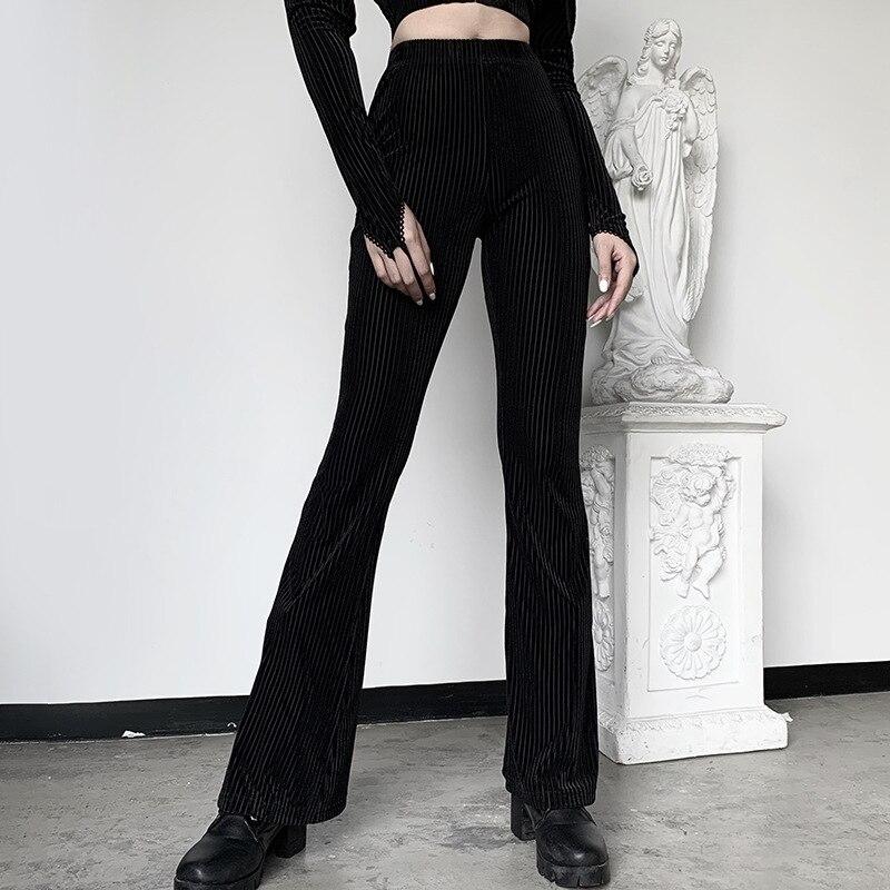 JIEZuoFang, estilo Punk, negro, Vintage, gótico, Pantalones de mujer Flare Harajuku chica estética Grunge Punk, pantalones femeninos primavera 2020