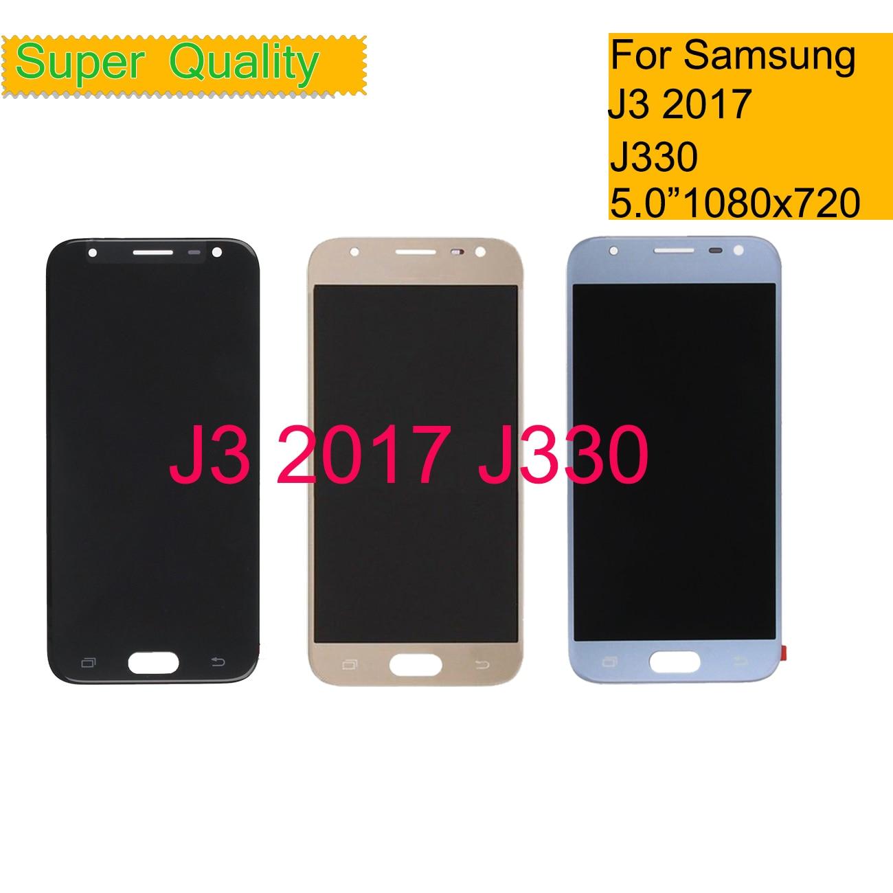 10 unids/lote para Samsung Galaxy J3 2017 j330 J330F teléfono pantalla LCD MONTAJE DE digitalizador con pantalla táctil con Control de brillo