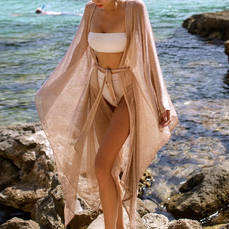 2021 New Summer Women Beach Cover-Ups Dress Solid Knitted Tunic Bikini Robe Cardigan Sun Proof Swimwear Swimsuit