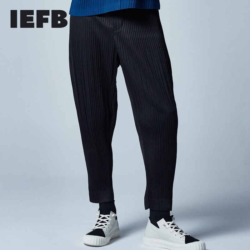 IEFB Men's Clothing High Quality Pleated Pants autumn New streetwear japanese fashion Causal Pants Loose Trend Haren Pants 9Y458