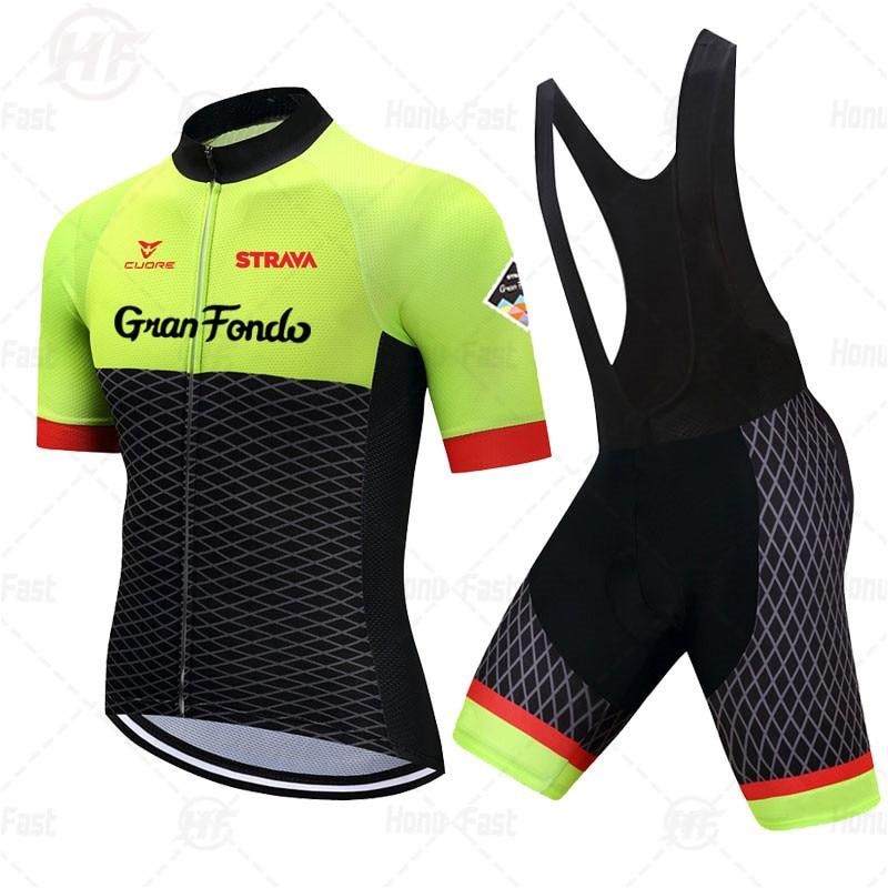 STRAVA-Conjunto de camisetas de ciclismo para hombre, camisetas transpirables de equipo de...