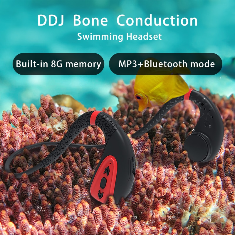 Ddj اللاسلكية سماعات ل شاومي العظام التوصيل سماعة المدمج في الذاكرة 8G IPX8 مقاوم للماء MP3 مشغل موسيقى السباحة الغوص